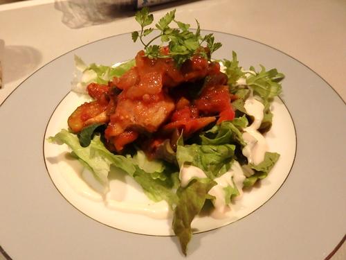 37地鶏のガーリックトマト煮