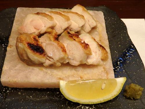 40若鶏の岩塩焼き柚子胡椒添え