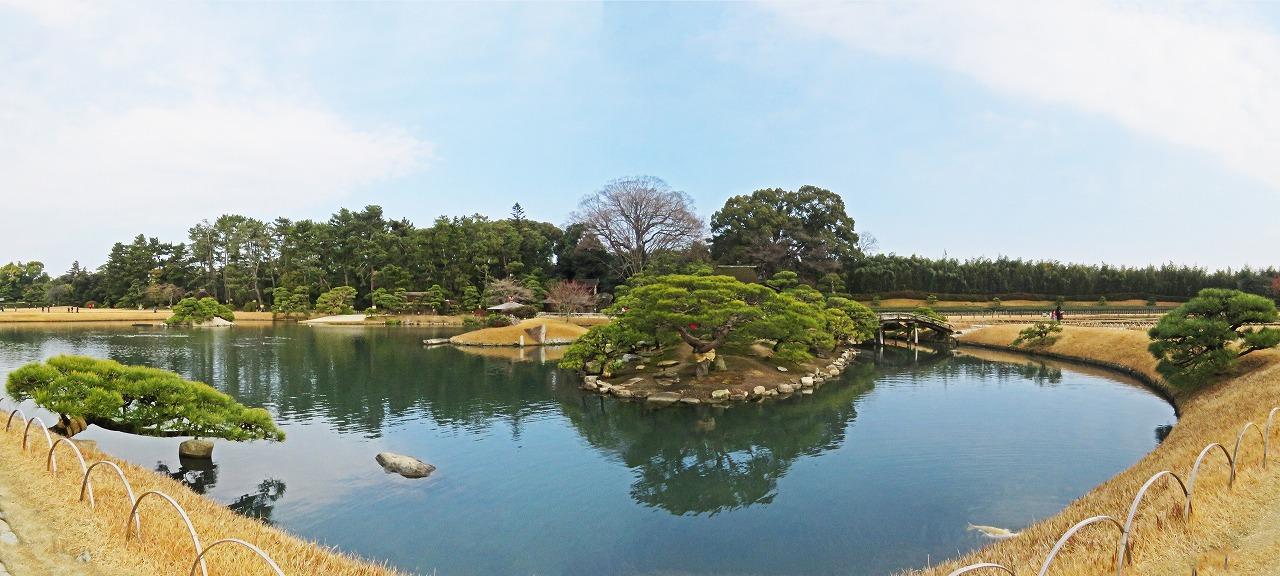 s-20141229 後楽園今日の園内沢の池の中島ワイド風景 (1)