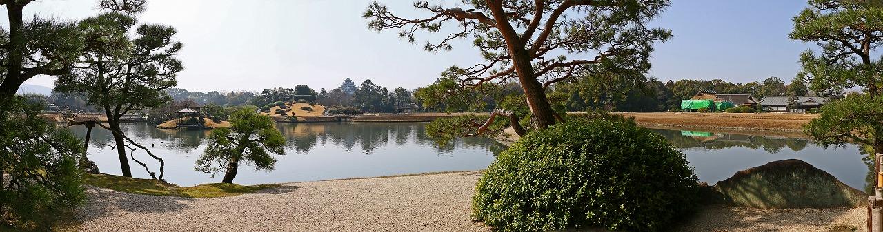 s-20150317 後楽園観光定番位置から眺めた今日の沢の池ワイド風景 (1)