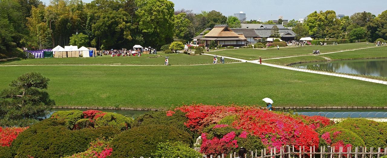 s-20150426 後楽園栄西茶会の日の唯心山から眺めた園内ワイド風景 (1)