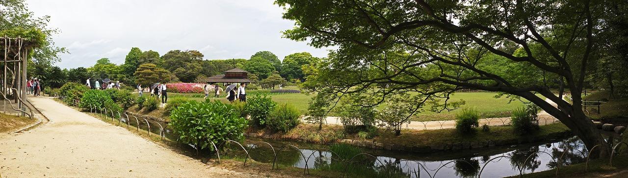 s-20150503 後楽園今日の藤棚付近から眺めた園内ワイド風景 (1)