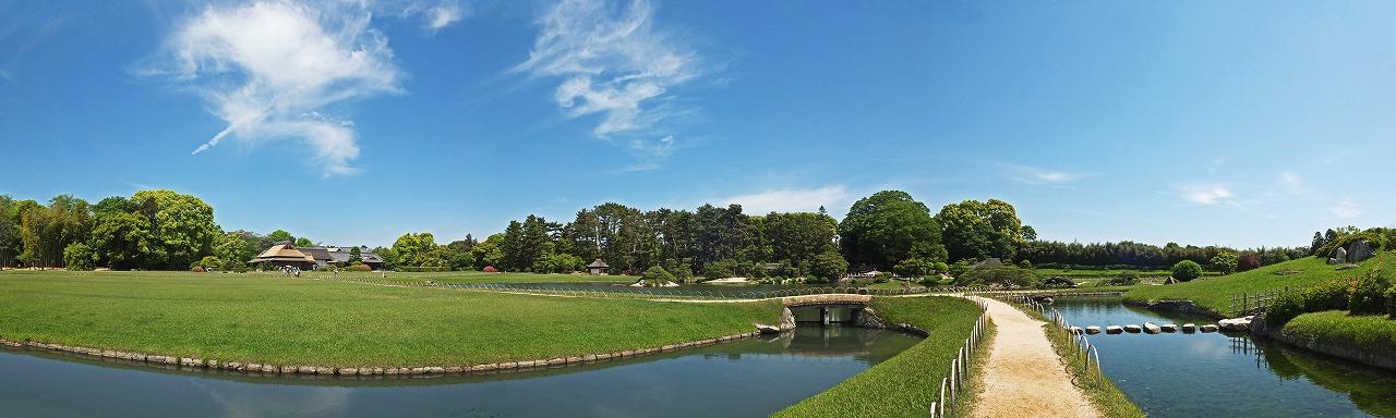 s-20150511 後楽園ひょうたん池東から眺めた今日の園内ワイド風景 (1)