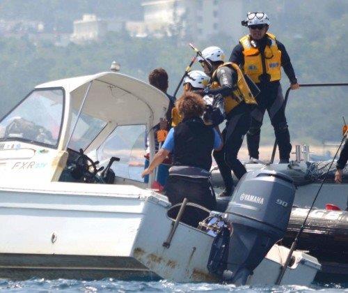20150415「(出て行け、犯罪者」と発言した海上保安官右から2人目