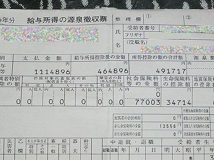 2014年分の給与所得の源泉徴収票