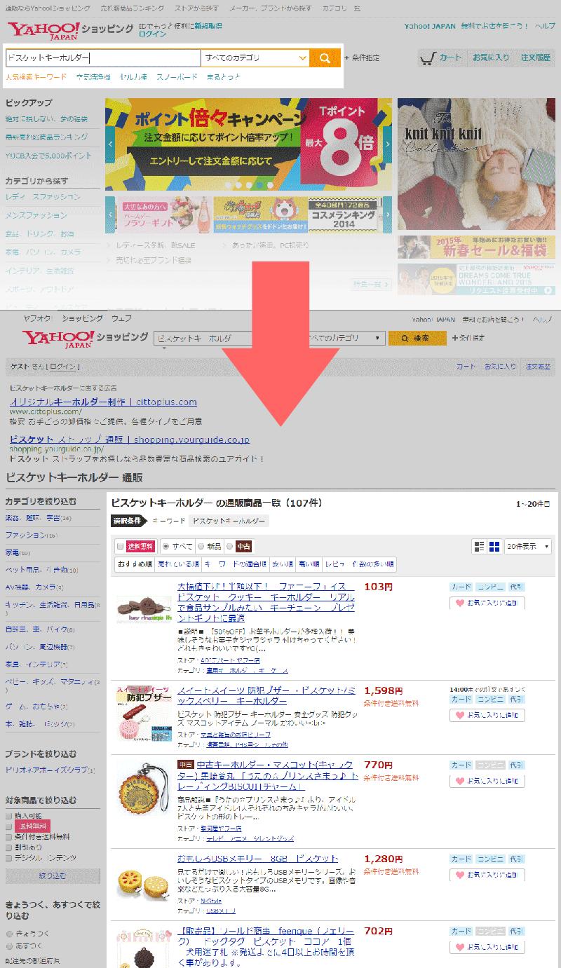 ヤフーショッピング検索結果参考例