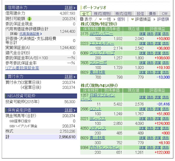 評価損益20150627