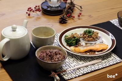 鮭と納豆の朝食