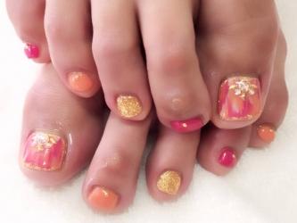 ピンク×オレンジfoot