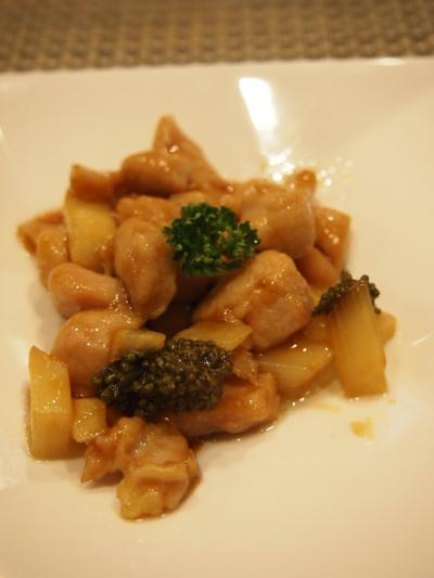人参葉と鶏肉炒め(御膳坊)