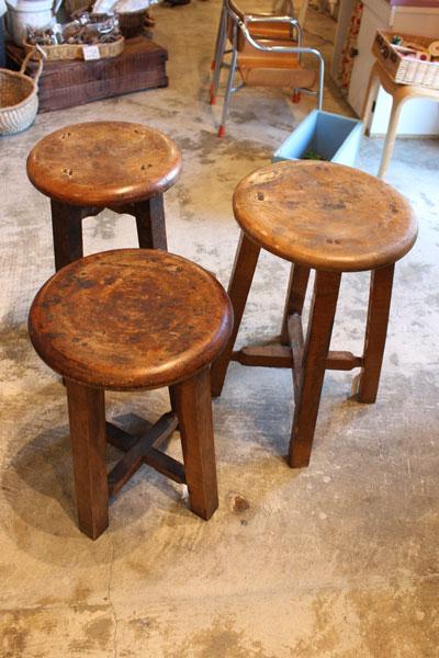 木製 丸スツール 古道具 古民家 木味 レトロ