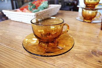 アンバーガラス 食器 ガラス アデリア 中古