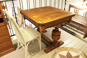 アンティーク テーブル ドローリーフテーブル 伸張式 オーク材