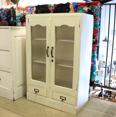キャビネット シャビーシック 白 モールガラス 食器棚 本棚 リメイク