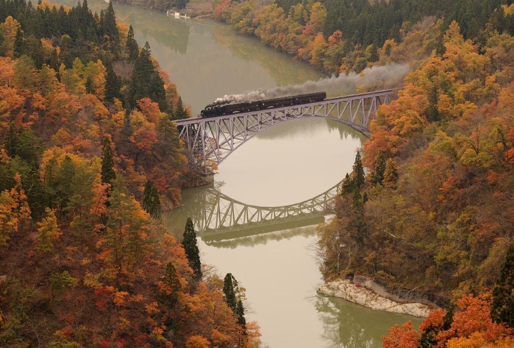 只見線 C11325 只見川第一橋梁鉄塔俯瞰