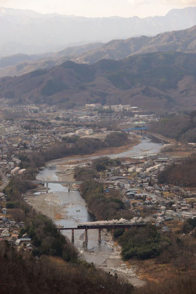 秩父鉄道 C58363 荒川橋梁俯瞰