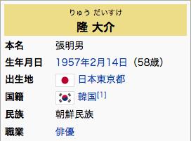 隆 大介(りゅう だいすけ、1957年2月14日 - )は、日本の俳優。本名及び旧芸名・張 明男(柳 明男)。 俳優・隆大介が台湾の入国審査で大暴れ!審査官に暴力、足を骨折させる 台湾メディア「この韓国人男性は酒に