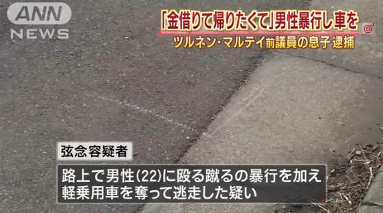 ツルネン元議員の息子逮捕=車奪い強盗致傷容疑-警視庁