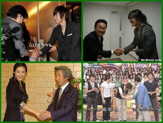 日本文化にない「朝鮮式握手」シリーズ①韓国式握手の基本は必ず右手で行い、左手は右肋弓下に添えるのが一般的です