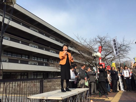 福島みずほ議員が国会図書館前で抗議のスピーチ #0322NOABE