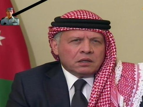 Jordan's King Abdullah delivering a televised address. (Al Arabiya)