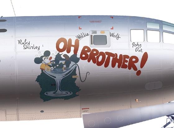 ミッキー描いたB-29【OH BROTHER!】号(日本本土を爆撃)も実在!♪Oh Mickey you are so fine=日本本土を爆撃したミッキー(OH BROTHER!号)は素晴らしい