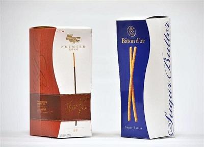 提訴されたロッテ「プレミア ペペロ」(左)、江崎グリコポッキー高級版「バトンドール」(右)