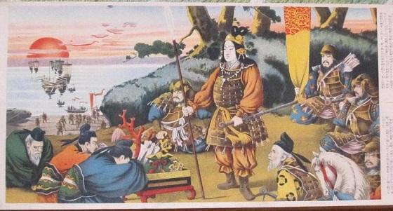 神功皇后のもとに、新羅王を悔い改めさせた