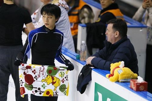 3月25日の公式練習での羽生選手(写真:中西祐介/アフロスポーツ)