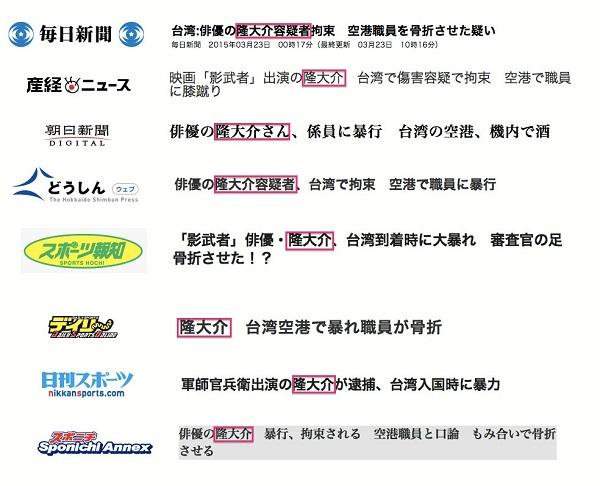 隆大介が韓国籍であることも張明男という実名についても全く報じていない。読者は、張明男(通名:柳明男、芸名:隆大介)のことを日本人だと誤解していまう