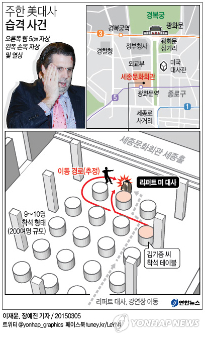 リッパート駐韓米大使が5日午前、ソウル市内で身元不明の男に襲われけがをした=5日、ソウル(聯合ニュース)