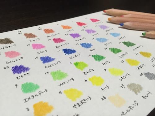 無印色鉛筆36 色見本