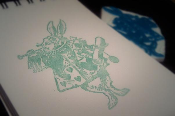 消しゴムはんこ - アリス - 白ウサギ