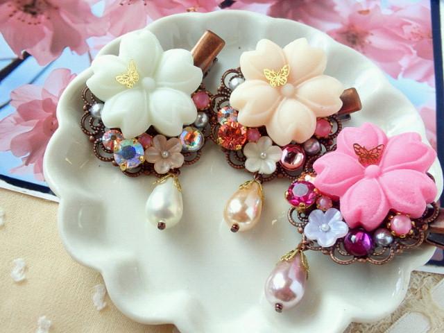 蝶舞う桜とクリスタライズのヘアクリップ1