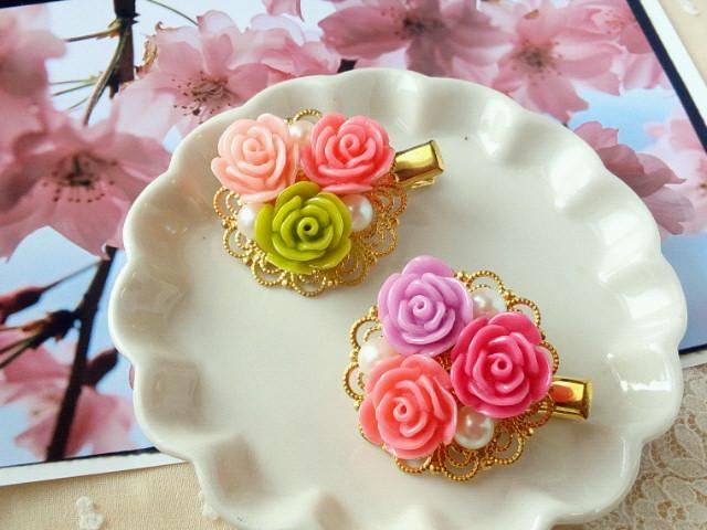 寄せ薔薇とパールのヘアクリップ1
