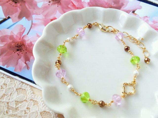 桜餅色ブレスレット2-1
