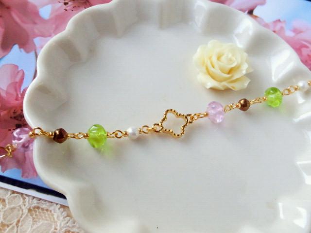 桜餅色ブレスレット2-3