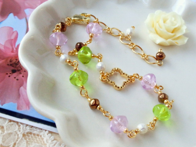 桜餅色ブレスレット2-2