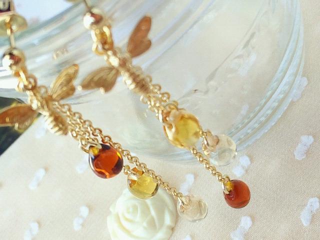 蜜蜂とハチミツドロップのピアスver2-5