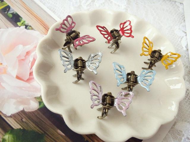 マニキュアカラー蝶々ヘアクリップ1