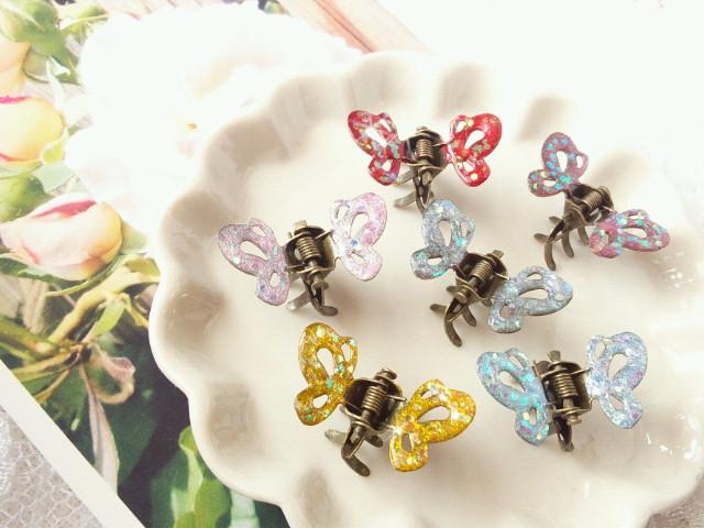 マニキュアカラー蝶々ヘアクリップ2