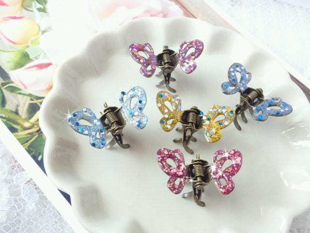 マニキュアカラー蝶々ヘアクリップ3