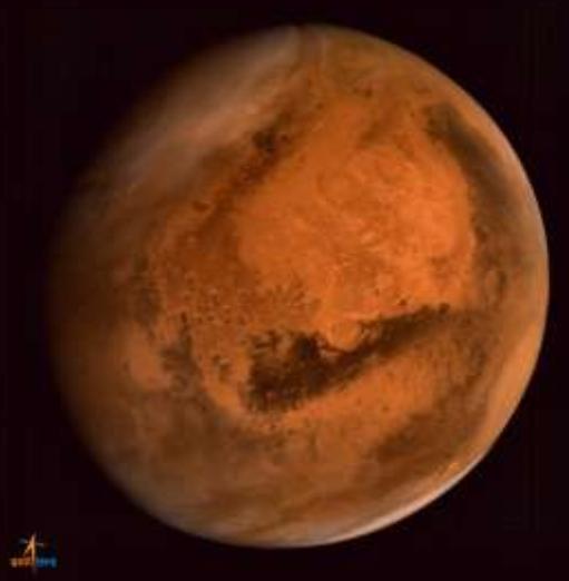 雲のかかった火星