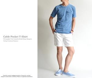 半袖Tシャツ インディゴ染め メンズ夏服 2015