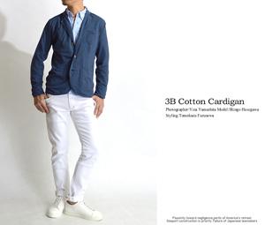 テーラードジャケット春の着こなし メンズ 白パンツ