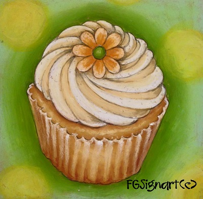 チョークアートのカップケーキ