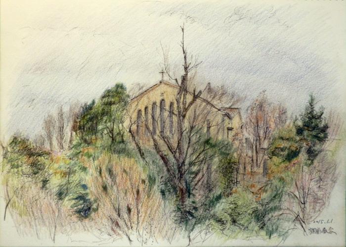 教会と雑木林