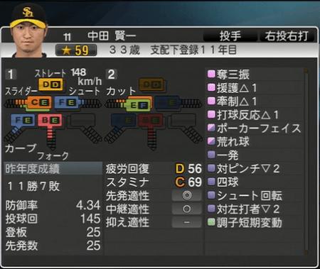 中田賢一 プロ野球スピリッツ2015 ver1.06