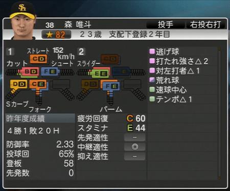 森唯斗 プロ野球スピリッツ2015 ver1.06
