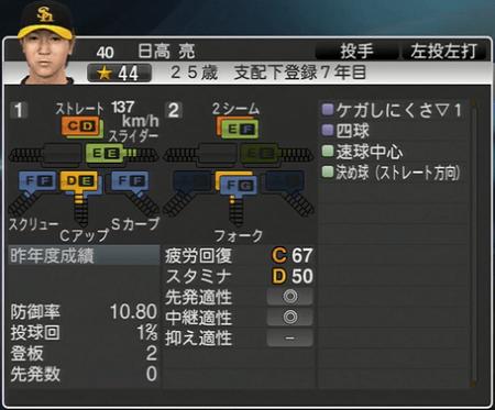 日高亮 プロ野球スピリッツ2015 ver1.06